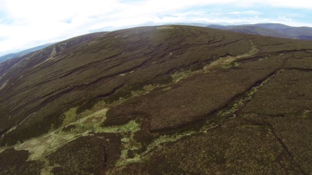Aerial view of Dryhope, shows extensive area of peat 'hags' undercut and eroding peat banks ©Tweed Forum