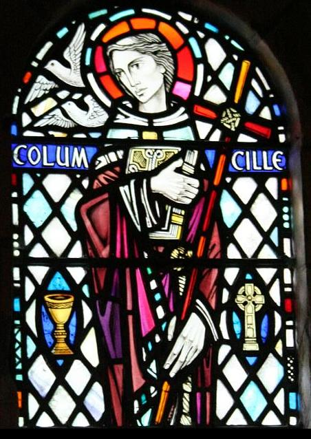 The Christian saint Columba in a stained glass window in Iona Abbey.  By VeganSoldier, licensed under Creative Commons
