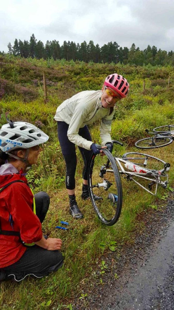Francesca's blog - fixing the puncture - July 2018