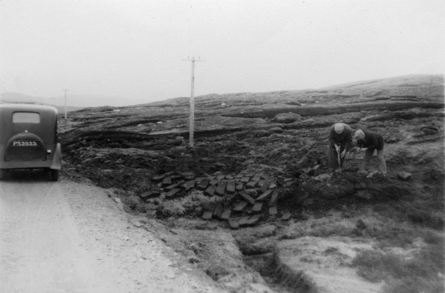 The find spot of the Gunnister Man, near Gunnister, Northmavine, Shetland, 1951. Photo: Shetland Museum and Archives.