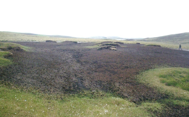 Large bare peat surface contributing to high organic load and colour at the water treatment works (WTW). ©Scottish Water, Sustainable Land Management Team