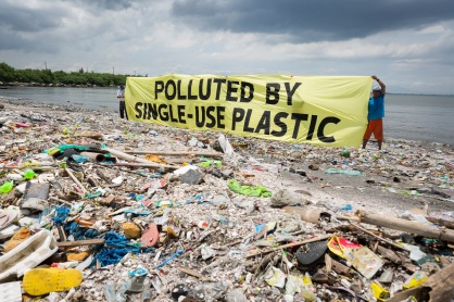 """Greenpeace together with the #breakfreefromplastic coalition conduct a beach cleanup activity and brand audit on Freedom Island, Parañaque City, Metro Manila, Philippines. The activity aims to name the brands most responsible for the plastic pollution happening in our oceans. A banner reads """"Polluted by Single-use Plastic"""". Freedom island is an ecotourism area which contains a mangrove forest and swamps providing a habitat for many migratory bird species from different countries such as China, Japan and Siberia."""