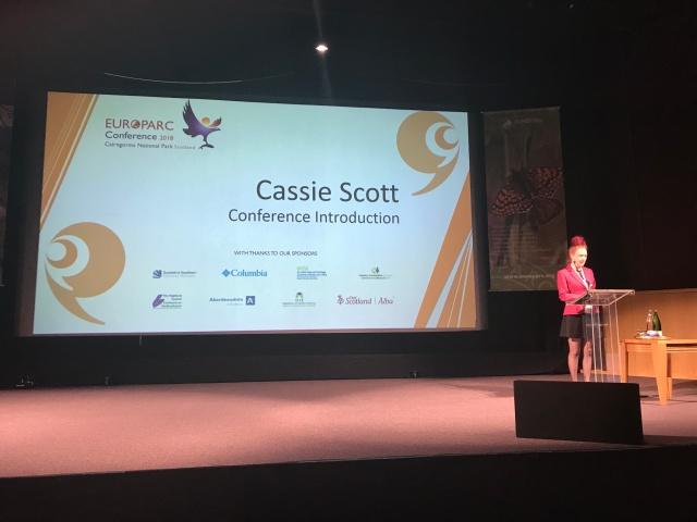 Cassie Scott speaking onstage at EUROPARC 2018 ©Kirstin McEwan/Scottish Natural Heritage
