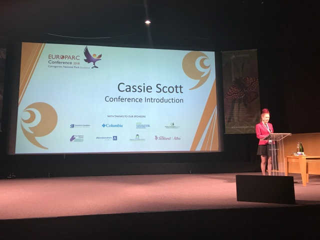 Cassie Scott speaking onstage at EUROPARC 2018 ©Kirstin McEwan/Scottish Natural Heritage