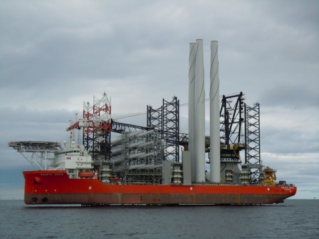 The Pacific Orca (the biggest vessel of this type in the world) can load the component parts of 5 wind turbines, sail to site and erect the turbines.