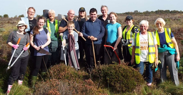 Bog Squad volunteers at Langlands Moss, © Sara Green/Butterfly Conservation
