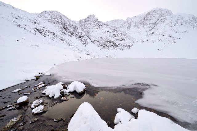 Lochan a' Choire and Coire Ardair at Creag Meagaidh National Nature Reserve in winter.©Lorne Gill