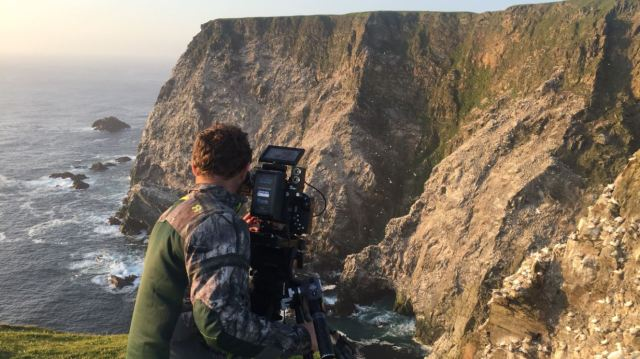 fergus filming gannets at hermaness ©maramedia