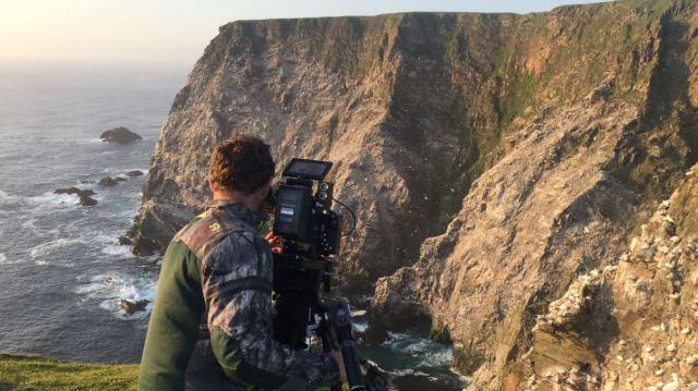 fergus filming gannets at hermaness ©maramedia