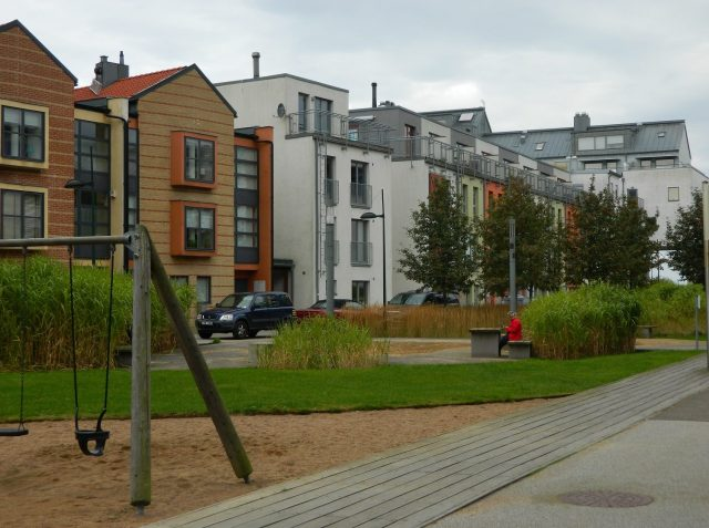 This pocket park in Malmo, Sweden includes a cycle path, a place to play and socialise, wildlife habitat and reed-beds to help manage surface water flooding