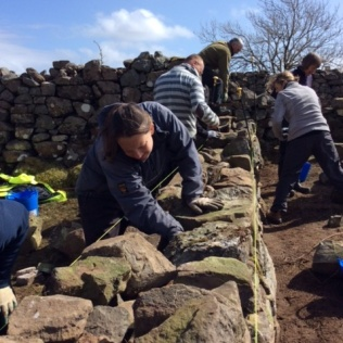 Drystone walling with Burg Thistle Camp