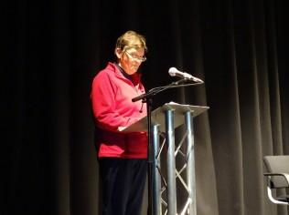Liz Taylor, runner-up, reading her poem 'Tentsmuir'